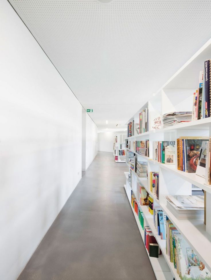 White Bookshelves With Gray Concrete Floor And White Wall Inspiring Pictures @ Lovile.com