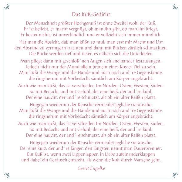 Eine Prise Humor darf auch bei Liebe und Hochzeit nicht fehlen. Dieses lustige Gedicht über das Küssen macht sich sicher nicht nur auf einem fröhlichen Scrapbook-Layout, sondern auch in einer Hochzeitszeitung gut.