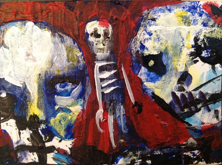"abstract, zombie, horror art , Acrylic original  ,ACEO  jack larson 3.5""x2.5"" #Abstract"