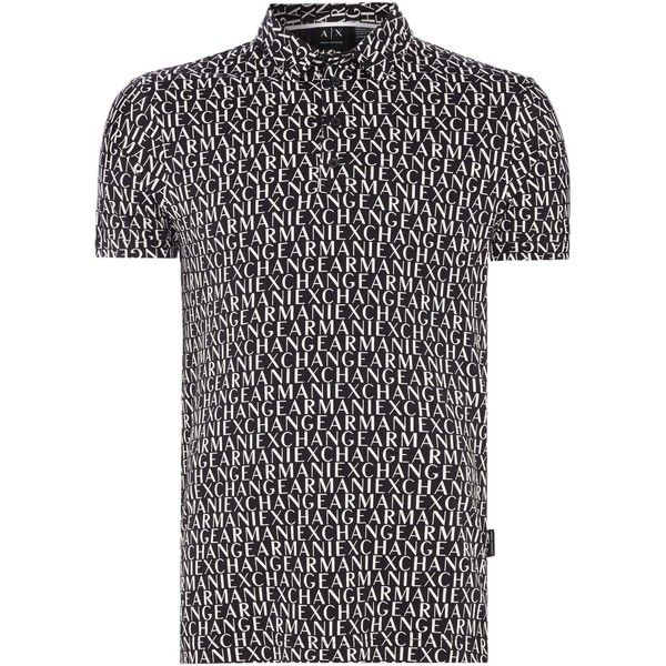 Armani Exchange All Over Logo Print Polo ($60) ❤ liked on Polyvore featuring men's fashion, men's clothing, men's shirts, men's polos, mens floral print polo shirt, men's cotton polo shirts, mens patterned shirts, armani exchange mens shirts and mens polo shirts