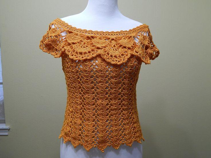 Blusa tejida para verano es muy facil y rapido para hacerla en cualquier talla, esta es Mediana con 200 grs de hilo
