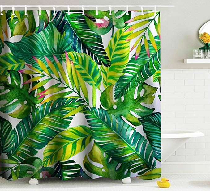Goodbath Green Banana Leaf Shower Curtain Tropical Palm Leaves