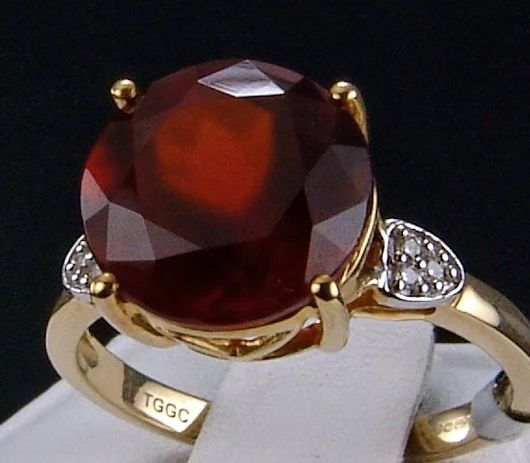 5.79ct Genuine Ciana Hessonite Garnet Solitaire with Diamond Accents 10k Solid Gold Ring.  Visit my eBay store for this and more beautiful genuine earth-mined gemstone jewelry!  http://stores.ebay.com/hm-fine-jewelry-and-more  #CianaHessoniteGarnet #garnet #garnetjewelry #garnetring #birthstones #birthstonerings #naturalgemstones #gemstonejewelry #gems #jewels #glitzandglam #jewelryfashion #jewelrystyle #jewelry #finejewelry #fashion #style #glam