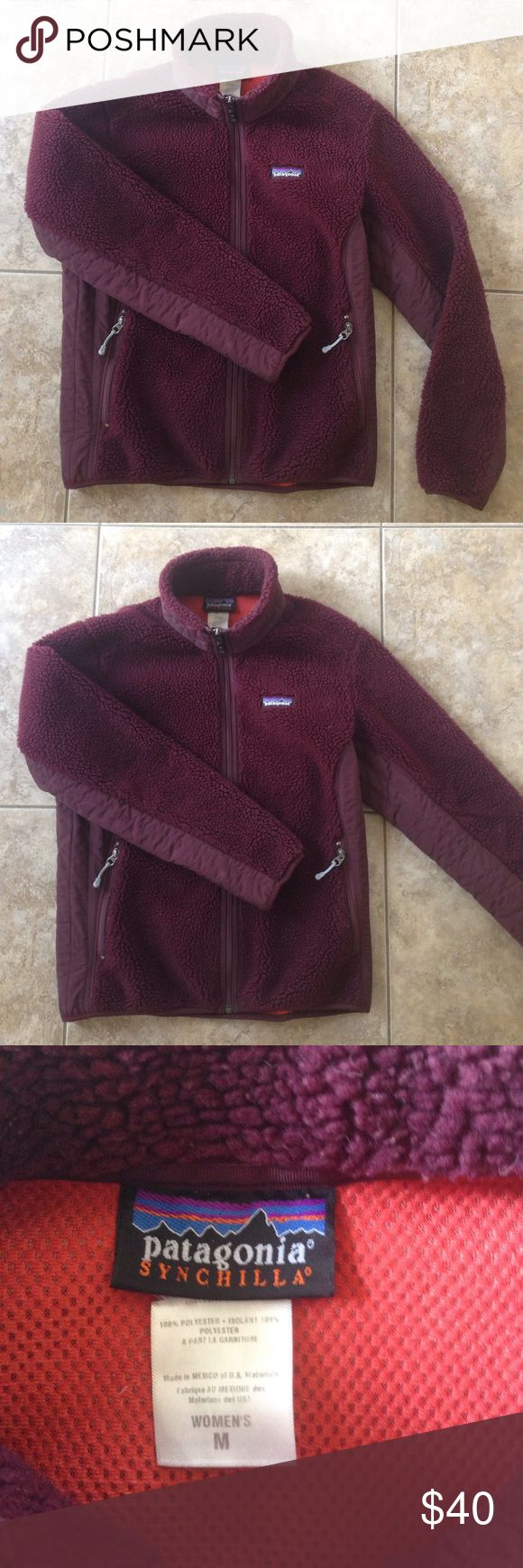 Patagonia retro x, full zip, wind proof fleece. Patagonia retro x synchilla full zip, wind proof fleece. Burgundy color. Good condition. Women's Med. Patagonia Jackets & Coats Utility Jackets