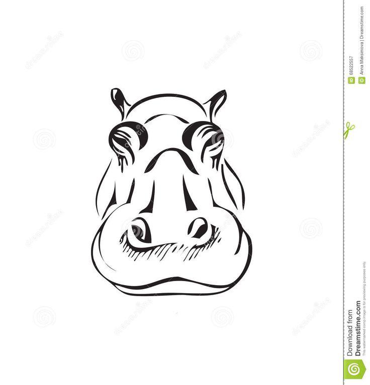 Tête D'un Hippopotame Illustration de Vecteur - Image: 68522557