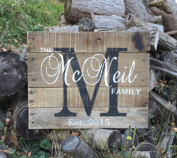 Custom Name Sign Pallet Last Name Wood by - EverydayCreationsJen - this is just another way you can personalize your family room.