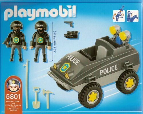 Playmobil Police Vehicle (5801) by Playmobil. $44.99. Two Police Officers. Special Edition Swat SUV. Tactical Vehicle Special Edition. Accepts the Underwater Motor and Zooms thru water!. Swat Military Police Team. Item is in stock and ready to ship.