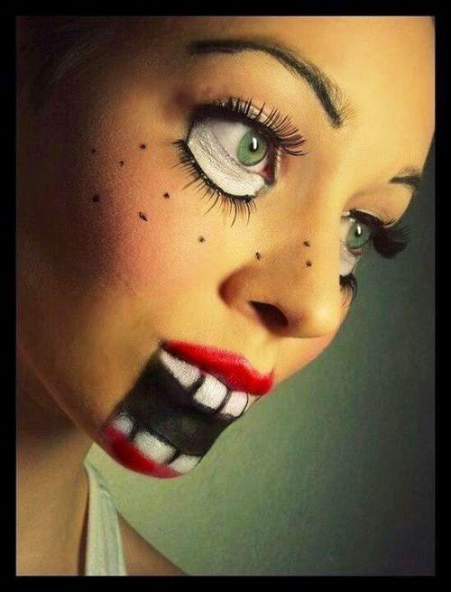 Halloween Makeup: wow, this optical illusion makeup I am seeing around is incredible! #Doll #Halloween #Makeup