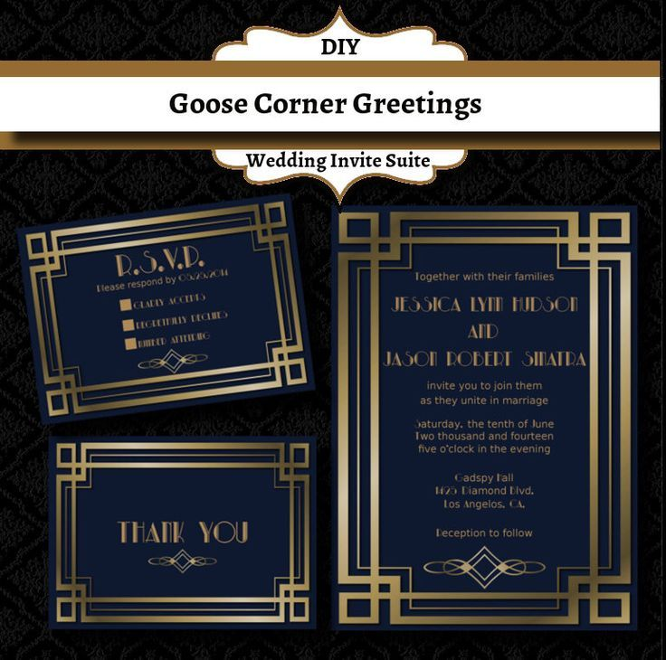 Great Gatsby Wedding Invitation Suite-Art Deco- Elegant-Formal- Wedding invitations-Gold and Blue by GooseCornerGreetings on Etsy www.etsy.com