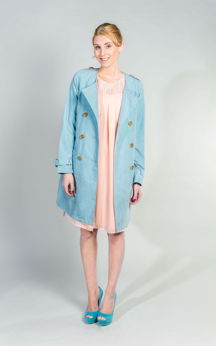 Pale Blue Coat - Gorgeous Soft Suede Feel Coat   #PaleBlue #Coats #WantHerDress