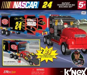 Nascar No.24 Dupont Transporter Building Set by NASCAR. $11.99. Built rig measures approximately 23? in length, or 1:27 scale. Step-by-step building instructions included. For ages 5+. Authentic sponsor logos replicate the 24 DuPont Rig. Includes 250+ K'NEX parts and K'NEXman driver. Two built cars fit inside the trailer (Sold separately). From the Manufacturer                Build the transporter rig for your favorite driver's team - Jeff Gordon and 24 DuPont! Set inclu...