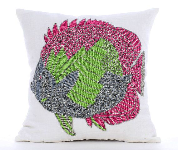 The Fishy Way - 16x16 Bead Embroidered White cotton Linen Throw Pillow.