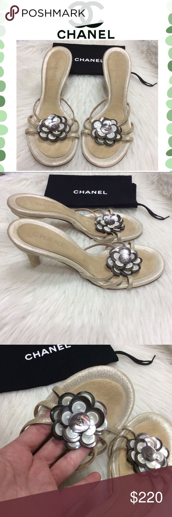 Authentic Chanel flower heels Authentic CHANEL Camellia Mother of Pearl Shell Flower Heels. Very good Preowned condition. Super cute for any occasion. Come with a dust bag. No box CHANEL Shoes Heels