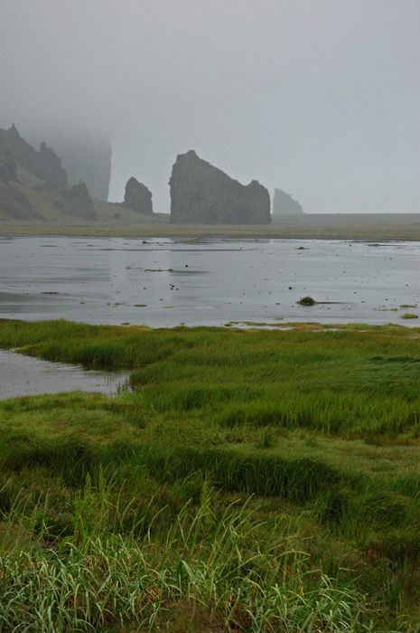 Iceland South Shore - Rock forms protrude from the sand.