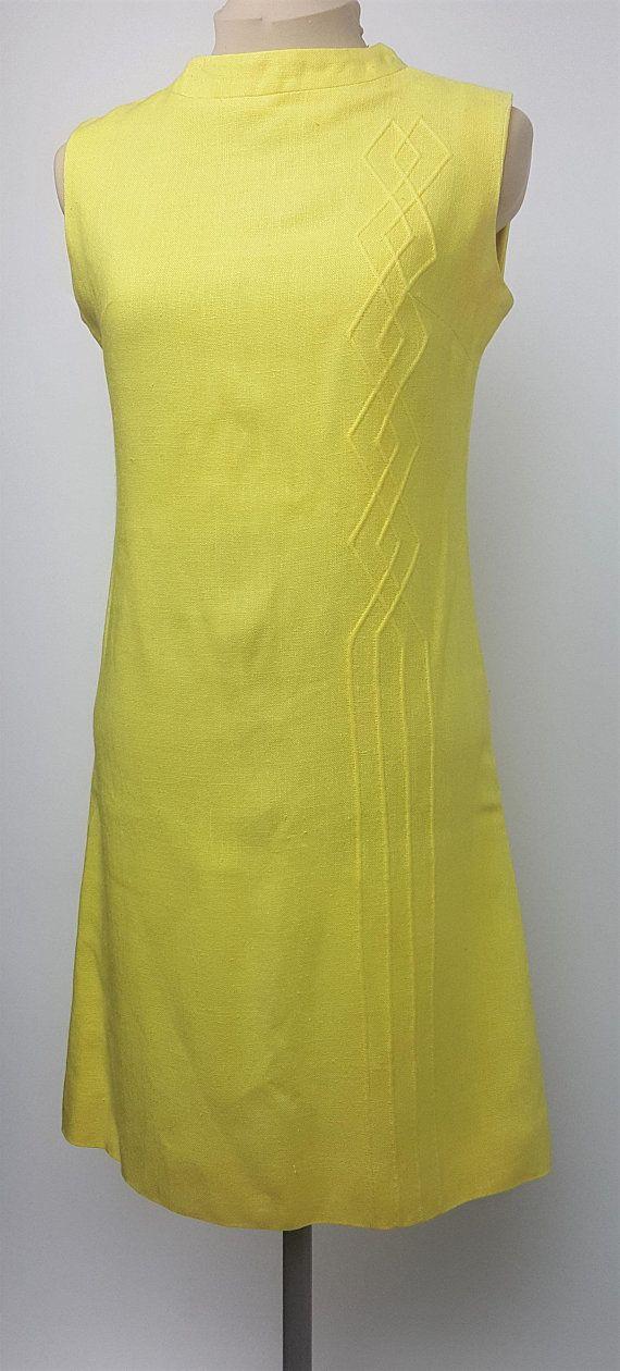9368059e87f1 60s mod shift dress sleeveless dress lemon yellow raised diamond stitch  pattern Bleeker Street size 6 | vintage items | Dresses, Fashion, Mod  fashion