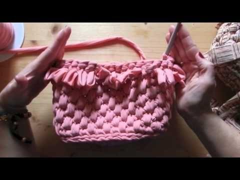 Tutorial borsa in fettuccia punto canestro|Bolsos de ganchillo|Fondo con catenella intorno - YouTube