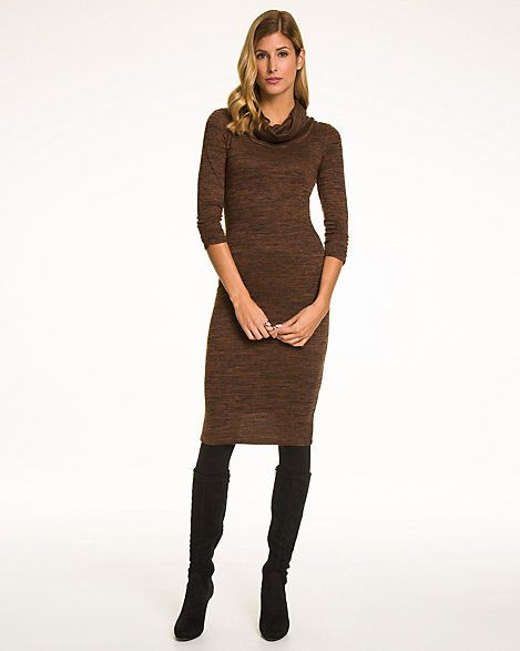 Mélange Knit Cowl Neck Dress