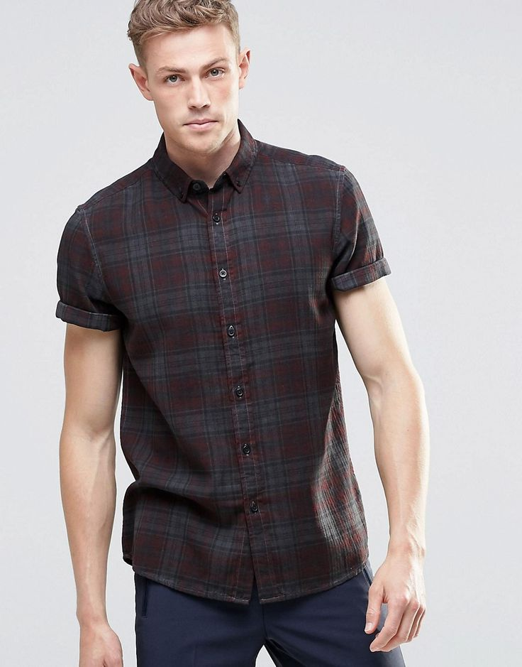 Image 1 of ASOS Check Shirt with Pigment Dye In Grey In Regular Fit