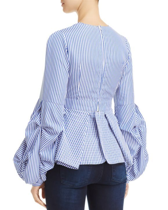 Alpha and Omega Striped Bell-Sleeve Top