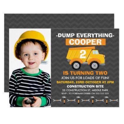 Boys Photo Under Construction Birthday Invitation - invitations custom unique diy personalize occasions