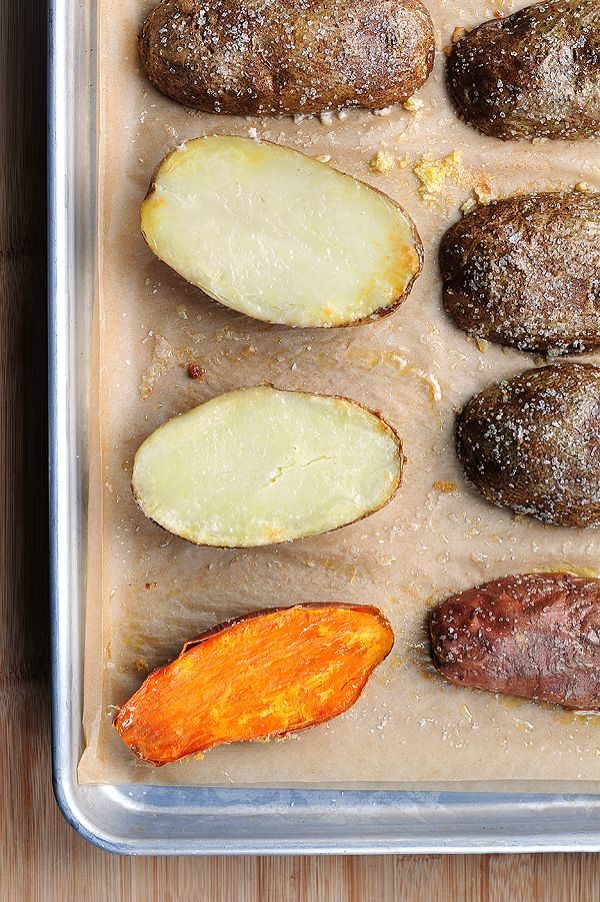 Quicker Baked Potatoes -- These couldn't be easier! Bake sweet potatoes and serve as a great side dish for Thanksgiving or Christmas.