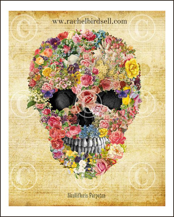 Flower Skull Art Print 8 X 10 Digital By CuriousCrowVintage 1500