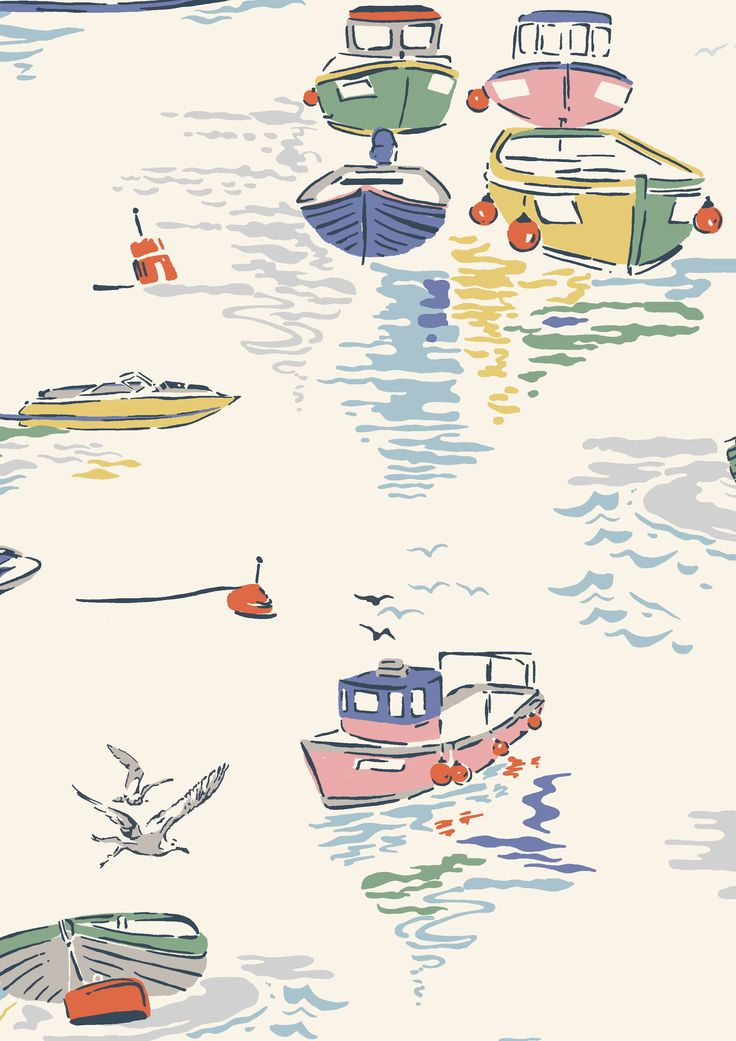 Sea View | A watercolour look out to sea complete with bobbing row boats and seagulls | Cath Kidston S16