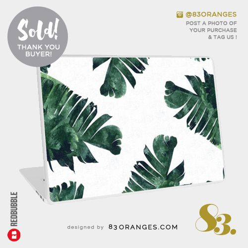 'Banana Leaf Watercolor Pattern' Laptop Skin  Sold! #redbubble #tech #laptopskin #customcases