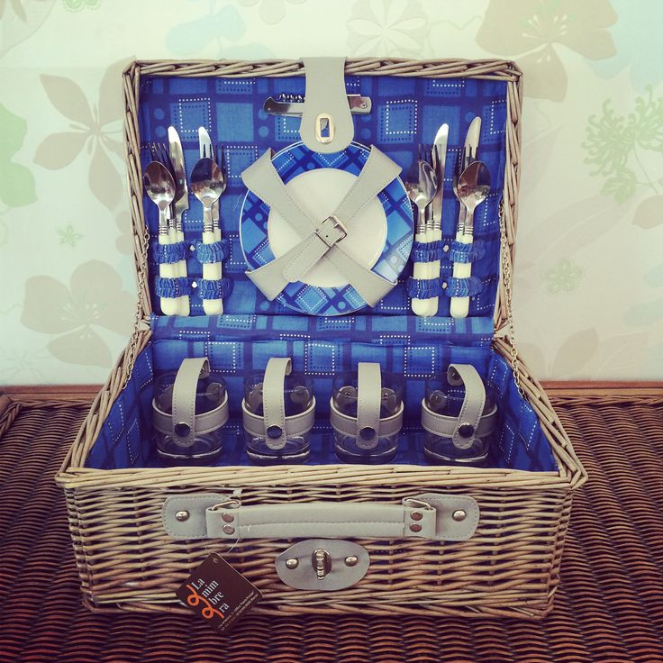 Bonita cesta en tonos azules de nuestra tienda La Mimbrera