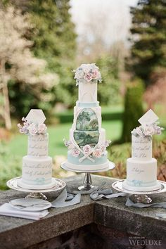 WedLuxe – Pride and Prejudice | Photography by: Vasia Photography #luxury #wedding #wedding #cake #reception #decor #sweets #table #jane #austen #wedding #inspiration #pink #flowers #dessert #pretty #cake #painted #cakes