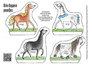 Knutselplaat Drie dappere paardjes voor kleurenprint
