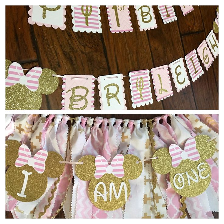 Pink and gold minnie mouse high chair skirt with small banner and happy birthday banner by CreationsByChrissyCo on Etsy https://www.etsy.com/listing/398397081/pink-and-gold-minnie-mouse-high-chair