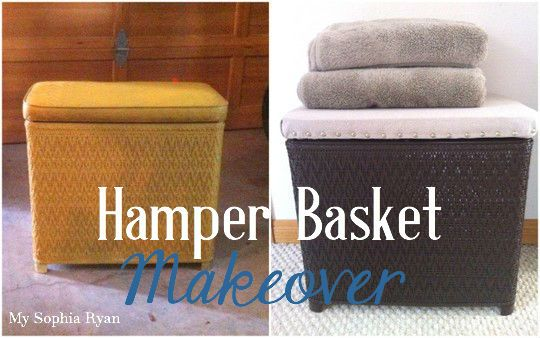 Hamper Basket Makeover - spray paint & drop cloth {My Sophia Ryan}