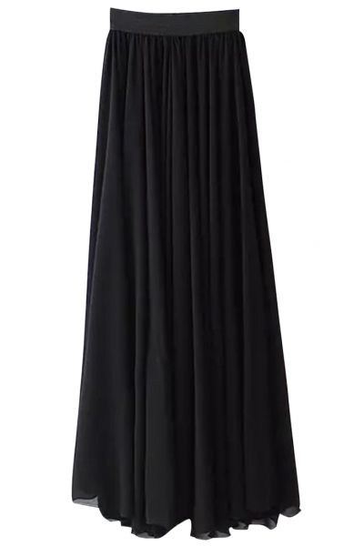 Black Pleated Chiffon Maxi Skirt - cullen's wedding with a white tank and necklaces?