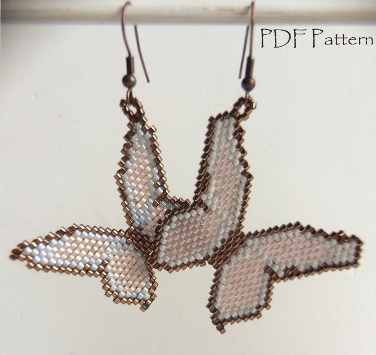 Butterfly earrings PATTERN - Brick stitch beaded jewelry pattern for buterflies with Delica beads by BelPunto on Etsy https://www.etsy.com/listing/209878446/butterfly-earrings-pattern-brick-stitch