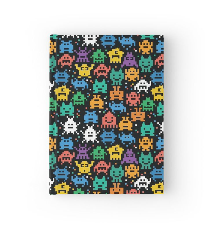 Pixelated Emoji Monster Pattern Illustration by Gordon White | Emoji Monster Closed Hardcover Journal Available @redbubble --------------------------- #redbubble #emoji #emoticon #smiley #faces #cute #addorable #hardcover #journal #pattern