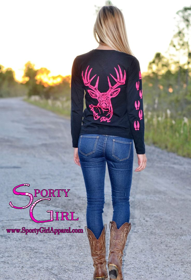 Sporty Girl Apparel - Black Ladies long sleeve with neon pink big buck , $22.00 (http://www.sportygirlapparel.com/black-ladies-long-sleeve-with-neon-pink-big-buck/) #pinkhunting #country #pinkbuck