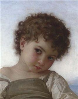 William Adolphe Bouguereau - Tête d'enfant, 1879,...