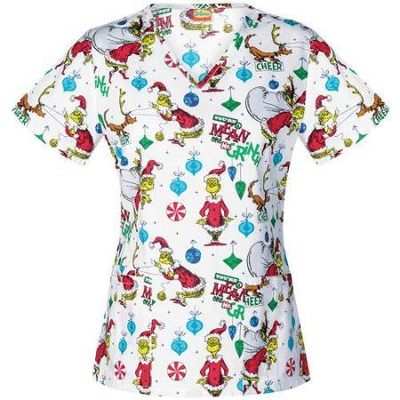 Dr. Suess Women's Fashion Collection Mr. Grinch V-Neck Scrub Top - Walmart.com