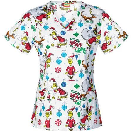 jordan Grinch grey Fashion   white pink Women     s Mr  Scrub Collection Suess Walmart com retro air V Neck Dr     Top