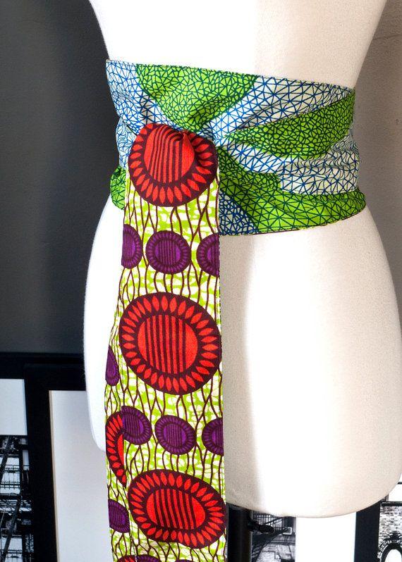 Reversible OBI BELT African wax print by folieAdeuxVintage on Etsy, $45.00