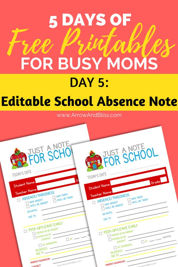 900+ best Life with Kids images by Brittany @ Paper Trail Design on - absence note