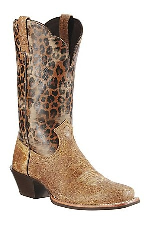 Ariat Legend Ladies Shattered Tan w/ Leopard Print Top Square Toe Western Boots