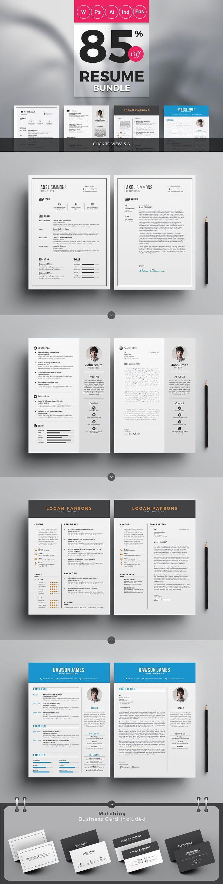resume websites modern resume cv and cover letter template bundle