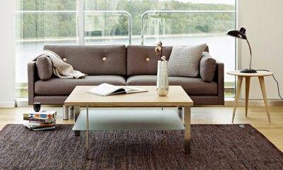 Table basse carrée bois et verre Link de Naver