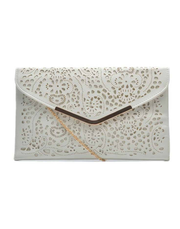 ZOOM | India Envelope Clutch Bag in White - - Style36