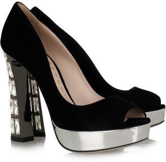 ShopStyle: Miu Miu Crystal-heel suede pumps