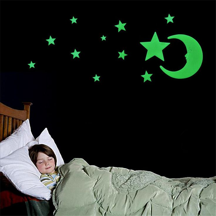 US $0.65 -- AliExpress.com Product - New Arrival Luminous Stars Moon Fluorescent Wall Stickers Decorative Stereoscopic Kid Wall Decal