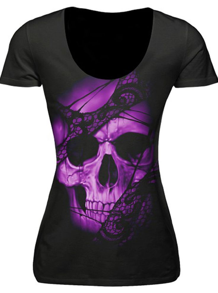 Inked Boutique - Purple Lace Skull Scoop T-Shirt Punk goth Alternative www.inkedboutique.com