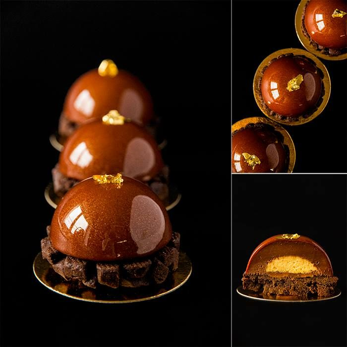 """Chef Nina Tarasova - Tartlets """"Gold dust"""": linzer chocolate pate sable with cinnamon; exotic cremeux with pepper espelette; exotic soft caramel and chocolate ganache with estragon."""